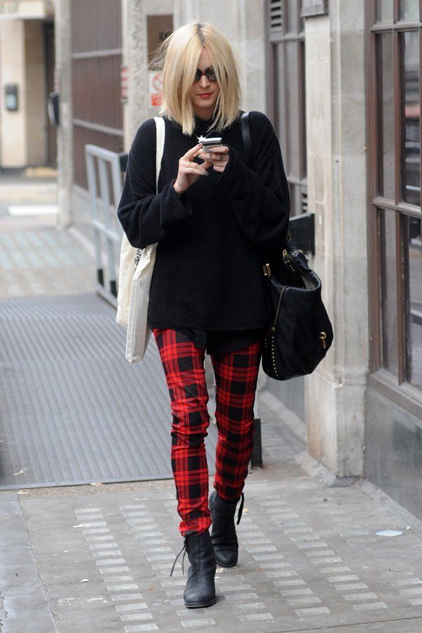Statement style with tartan pants mixed with block coloured jumper.