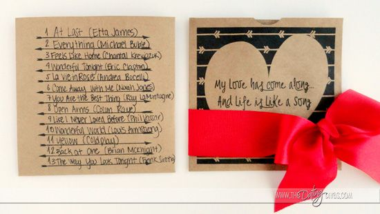 Playlist of romantic love songs and adorable, FREE printable CD sleeve.