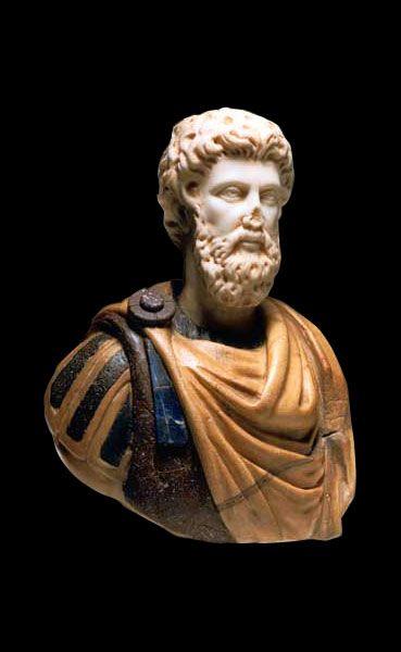 Roman Multi-Colored Marble Bust of Emperor Marcus Aurelius - X.0396            Origin: Mediterranean            Circa: 2nd Century AD