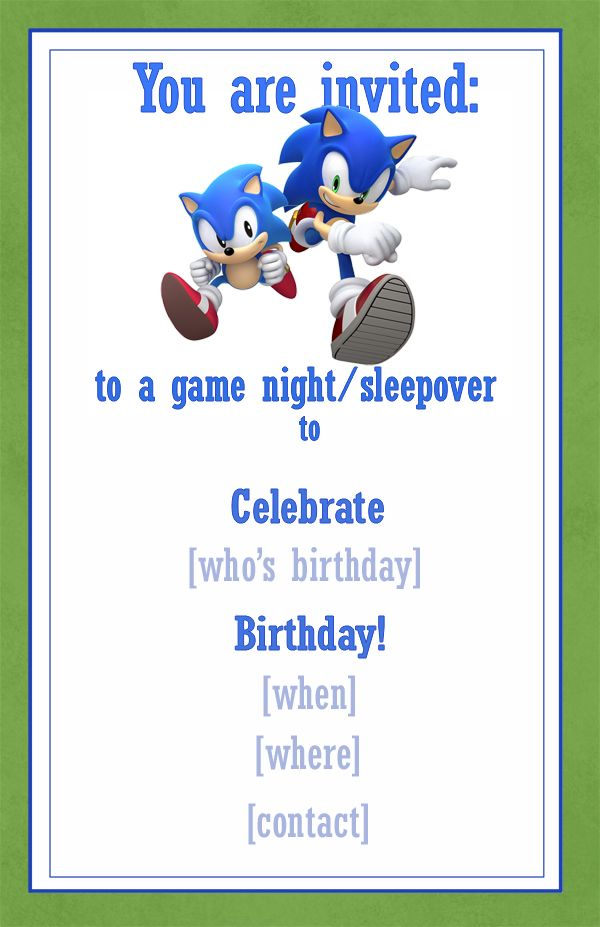 Sonic Invitation Example / Snippets of Design.com | Party ...