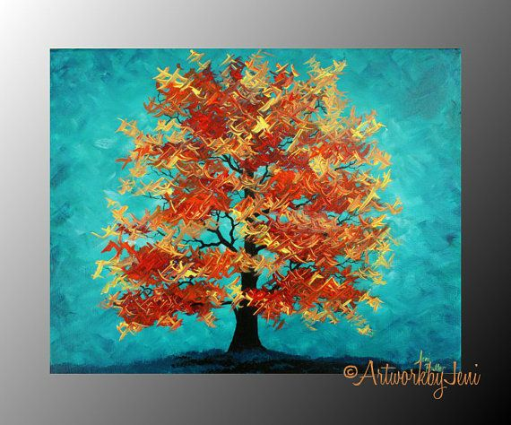 "Fall aRt Autumn Tree pAiNtiNg Acrylic on CaNvAs LaNdScApE Thick Textured Colorful Art 14"" x 11"" by ArtworkbyJeni - ""Emergence of Fall"""
