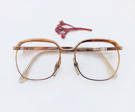 Galileo 1960s eyeglasses / 60s NOS gold Italy squared by Skomoroki