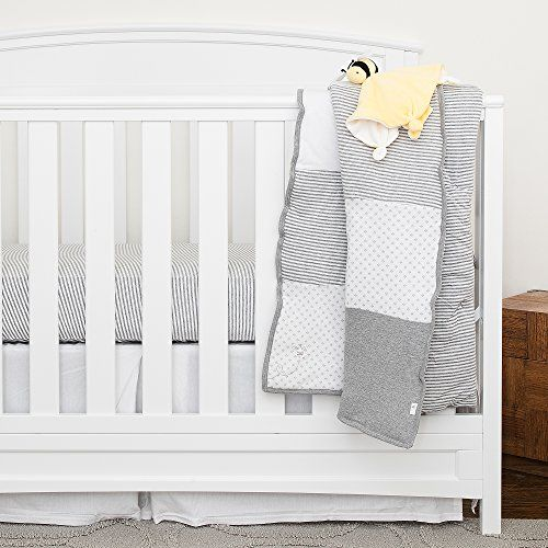 Burt's Bees Baby - Organic 5 Piece Crib Bedding Nursery Set, Heather Grey (Dottie Bee). For product info go to: https://all4babies.co.business/burts-bees-baby-organic-5-piece-crib-bedding-nursery-set-heather-grey-dottie-bee/
