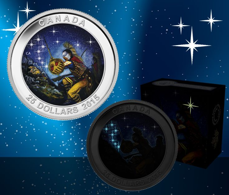 2014 $25 Fine Silver Coin - The Star Charts Series (Wounded Bear). Many First Nations legends describe the Big Dipper as a great bear who is chased by three hunters. Read about the legend of the big dipper : ow.ly/BvEx4