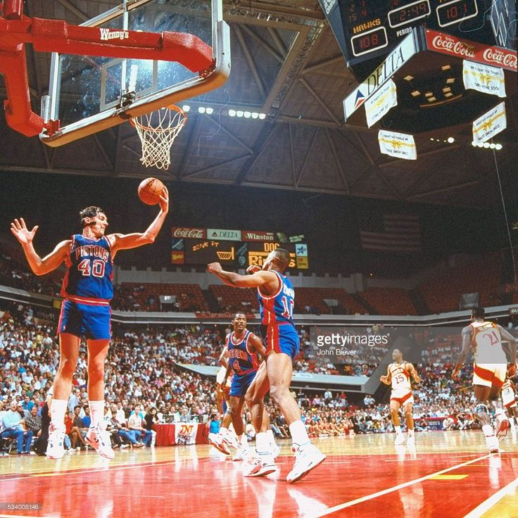 Detroit Pistons Bill Laimbeer (40) in action, rebounding vs Atlanta Hawks at The Omni. Game 4. John Biever X41343 )