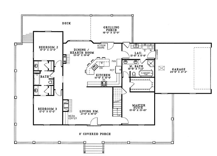 Country Style House Plans   1921 Square Foot Home, 1 Story, 3 Bedroom And 3  3 Bath, 2 Garage Stalls By Monster House Plans   Plan