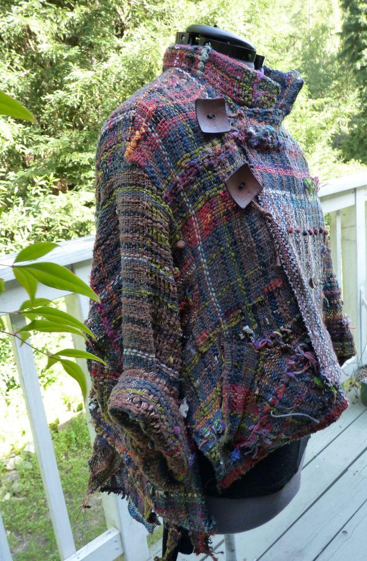 PEACE FLAG hand woven  and designed Saori jacket: wearable art. $475.00, via Etsy.
