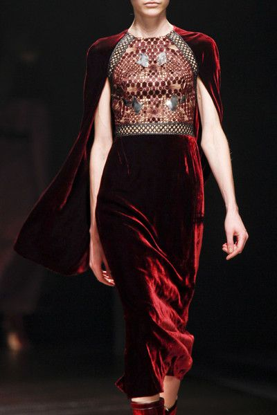 Marios Schwab Fall 2013 - not sure if its the color or shape that's so captivating.