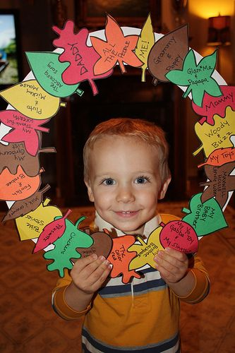 Wreath of Thanksgiving (each day the mom wrote in what the 2 yr old boy said he…