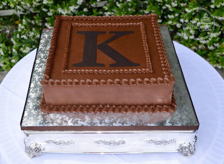 Forever After Cakes - Square Chocolate Monogram Groom's Cake