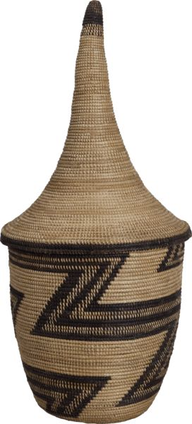 Africa | Old Tutsi Igeseke Basket with Tall Conical Lid. Burundi? Great Lakes of Central Africa | Before 1940 | Grass and other fibre, Basketry