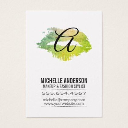 Script Monogram / Expressive Kiss Business Card - script gifts template templates diy customize personalize special