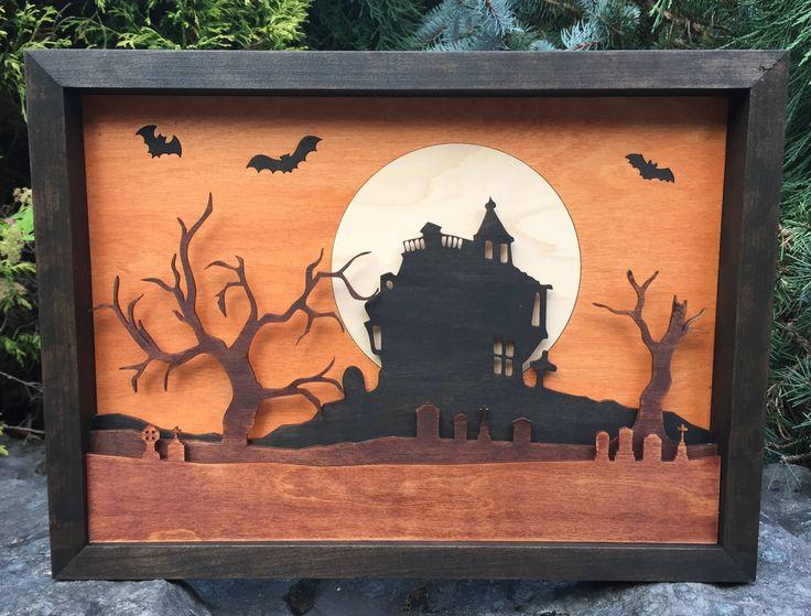 3D Halloween Laser Cut Shadow Box Wood Scene Inlaid / Haunted House / Bats / Graveyard / Moon / Handcrafted / Custom