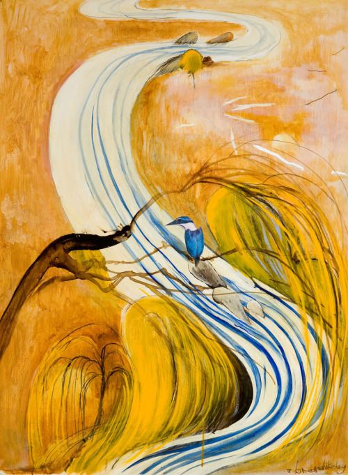 Brett Whiteley (Australian, 1939-1992), Study for Kingfisher, 1978. Oil and collage on composition board, 101.2 x 65.5 cm.
