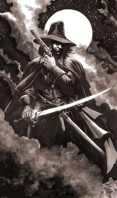 """""""Solomon Kane Walks at Midnight"""" by Timothy Truman (Media: Ink, graphite, and gray watercolors)"""