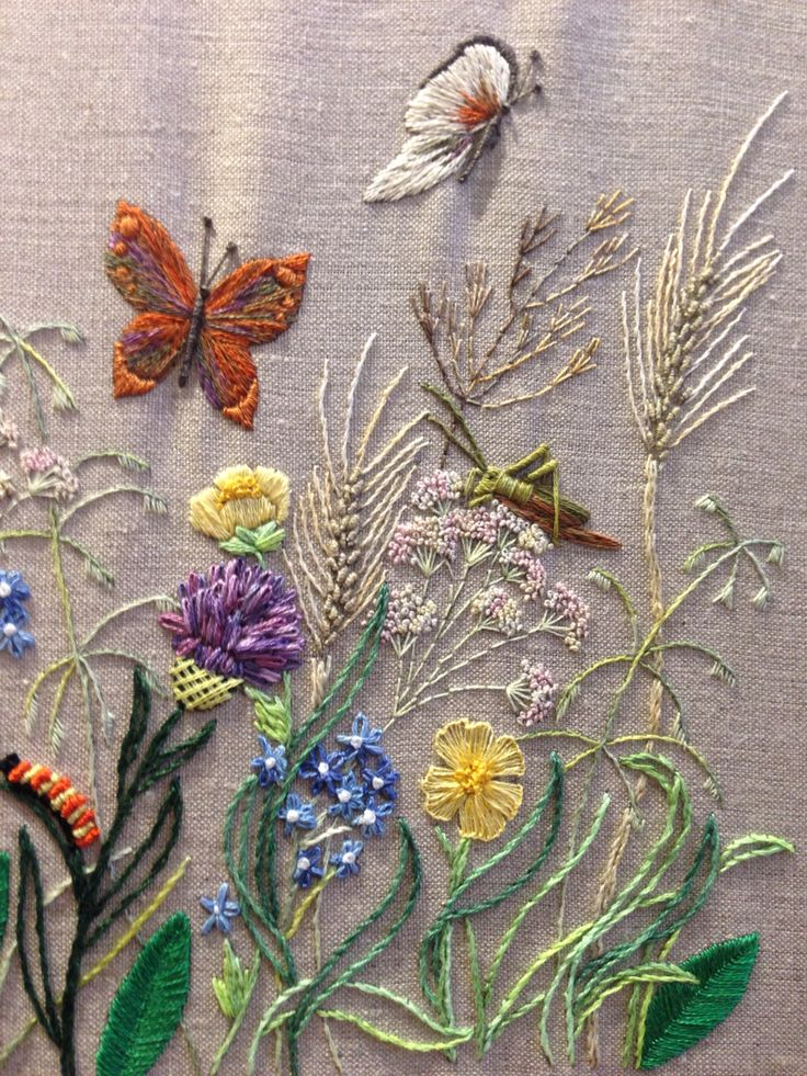 Breath of Spring - profile butterfly - satin, long and short, straight, pistil stitches and French knots using variegated and plain cotton.