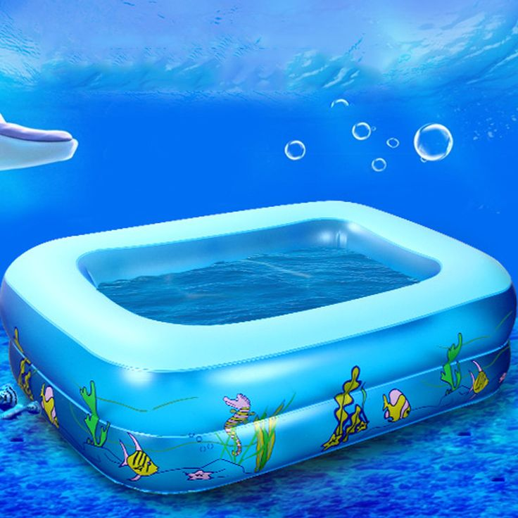 Kid Baby's Cartoon Underwater World Pattern Printed Inflatable Aerated Square Newborn's Swimming Pool High Quality