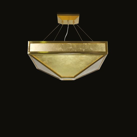 Mystique Suspension Lamp II | The Mystique Suspension Lamp II by MULTIFORME is composed of 9 lights, the structure is made of brushed gold, gold foil glass decorative plates com... view details on www.treniq.com