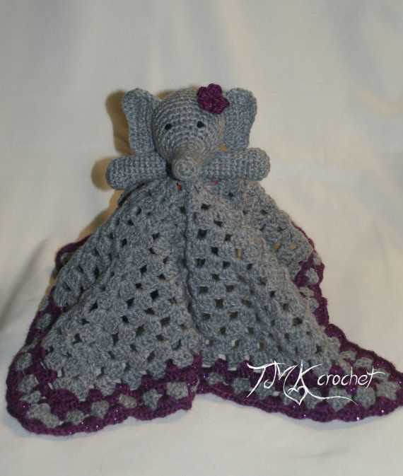 Crochet Elephant Lovey Blanket Security Blanket Baby Toy