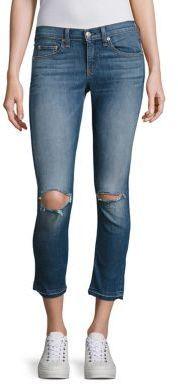 Rag & Bone Distressed Released Hem Capri Jeans/Lily Dale