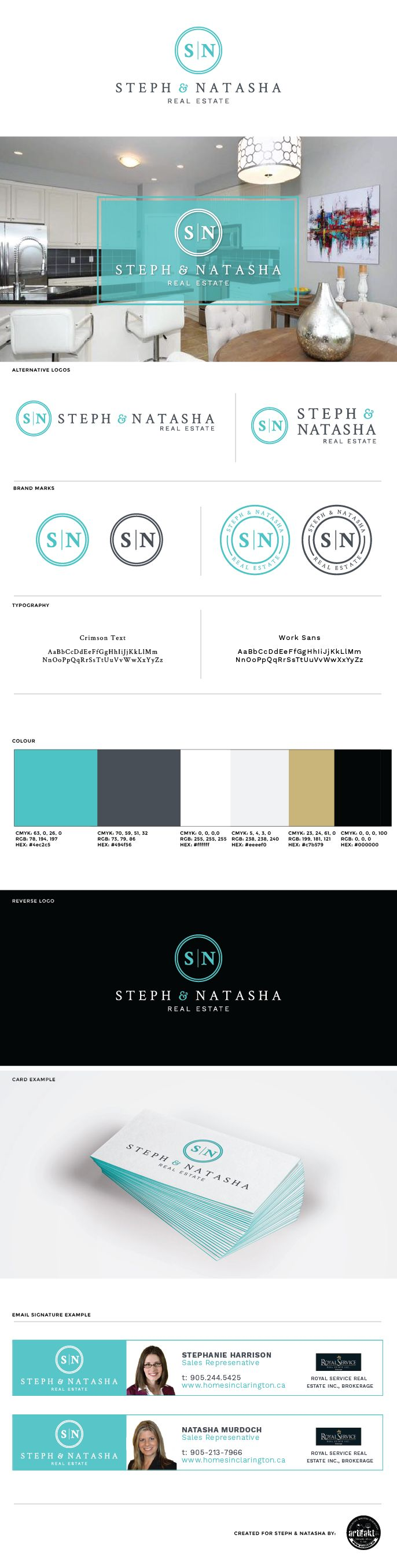 The completed branding guidelines we did for 'Steph and Natasha', a real estate team in Durham region.