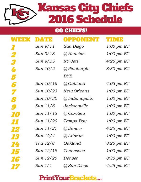 Kansas City Chiefs Schedule - 2016
