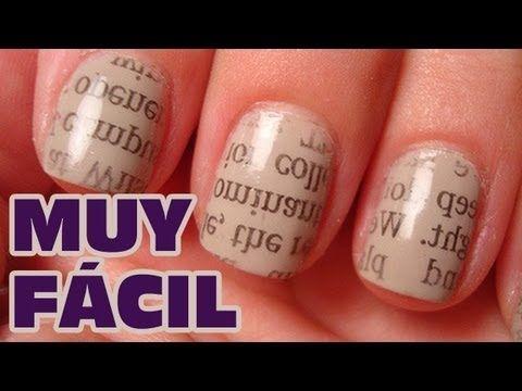 Decorar uñas con periódico MUY FACIL (Uñas decoradas)   Pintar uñas con esmalte sencillas