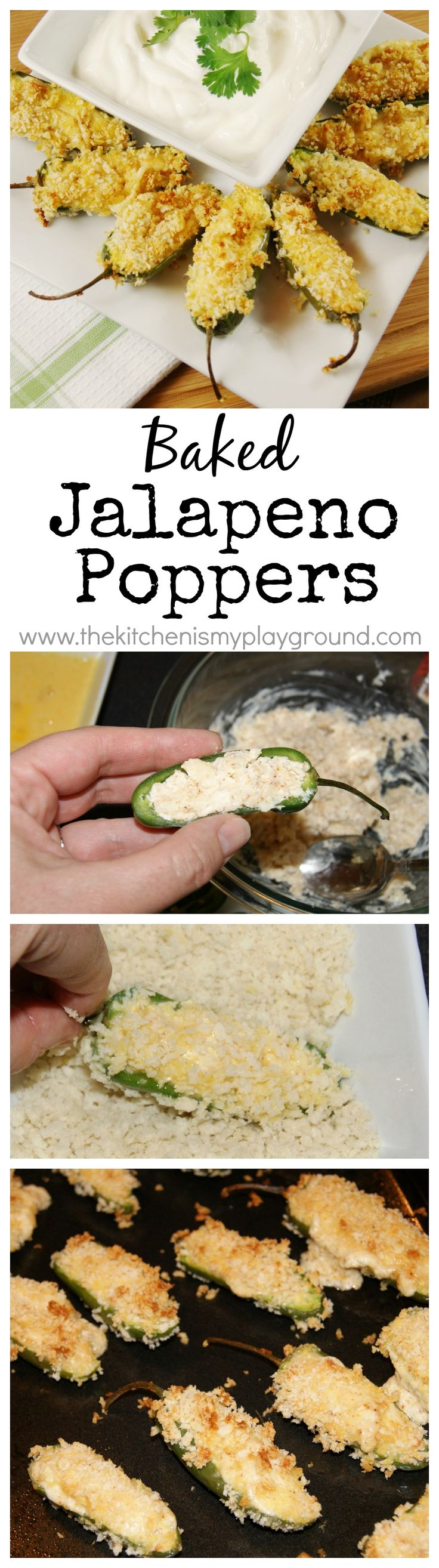 Baked Jalapeno Poppers ~ these pack a delicious spicy punch without the fat or hassle of frying.  So good! #jalapenopoppers #gameday #partyfood www.thekitchenismyplayground.com