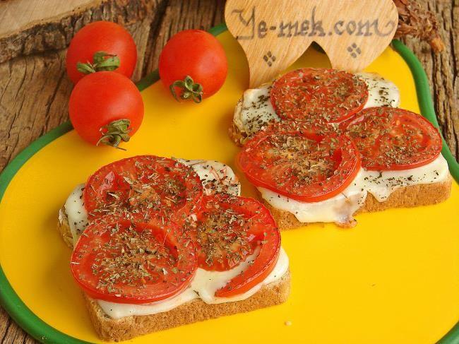 Fesleğenli Domatesli Ekmek Dilimleri Resimli Tarifi - Yemek Tarifleri