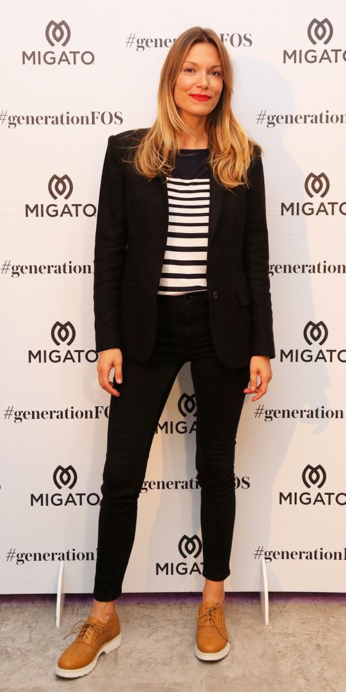 Fabulous Vicky Kaya at our Press Event wearing #MIGATO XN243 tobacco textile oxford! SHOP NOW ► http://miga.to/XN243-L52en