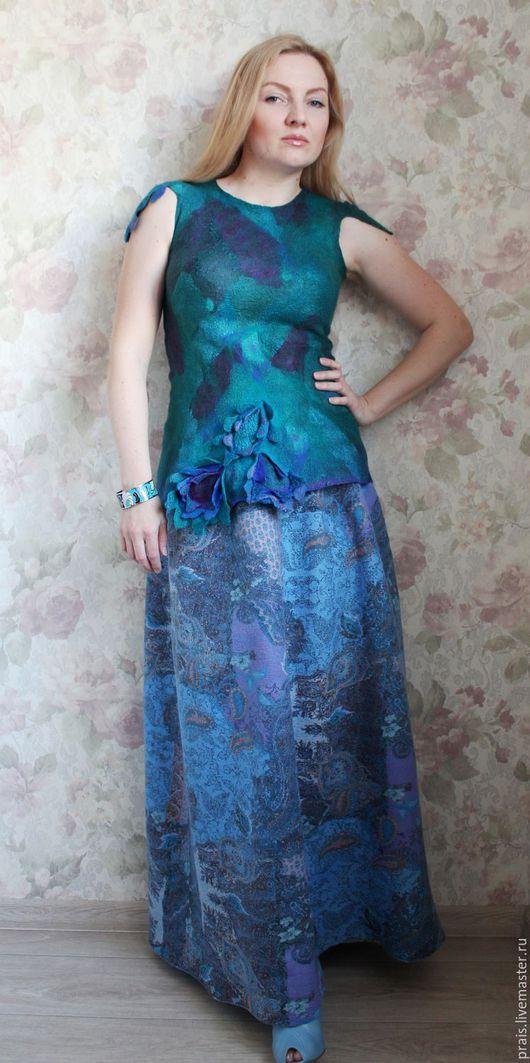 """Юбки ручной работы. Ярмарка Мастеров - ручная работа. Купить Двухсторонняя авторская юбка """"Голубая луна"""". Handmade. Голубой"""