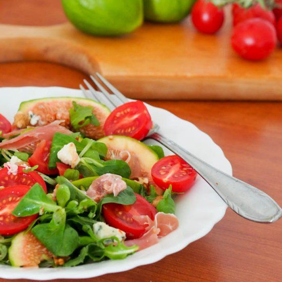 The only salad you need this summer - figs, prosciutto, blue cheese, tomatoes and walnuts - a match made in heaven.