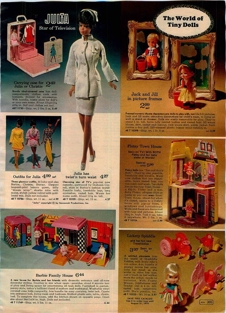 Julia Doll, Barbie Family House, Jack & Jill, Flatsy and Lickety Spliddle Dolls from the Montgomery Ward Christmas Catalog, 1969