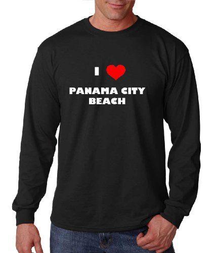 I Love Panama City Beach Fl City Country Long Sleeve T-Shirt Tee Top Black XL