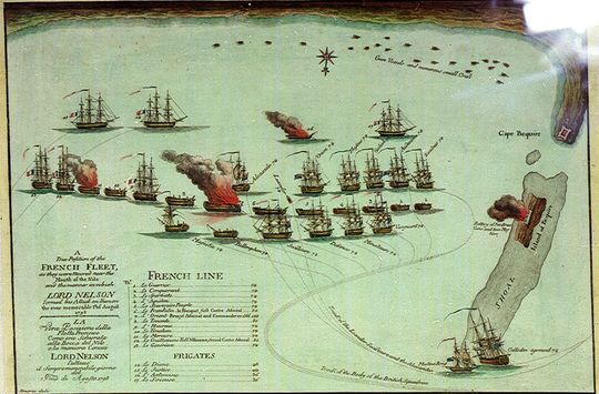 A map showing a line of 13 ships, mostly dismasted and two on fire. On either side are six ships flying British flags, some in a state of disrepair. Four other ships sit along the coastline, one on fire while a large ship and a small ship are grounded on a shoal which is surmounted by a burning fort.