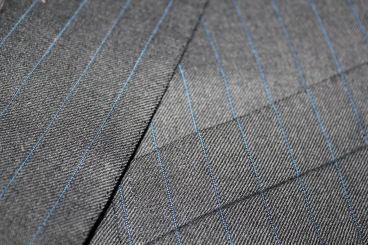 blue pinstripe on grey worsted wool