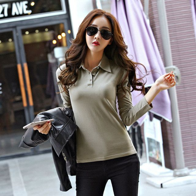 Spring Autumn Casual Polo Women 2017 New Long Sleeve Slim Polos Mujer Black White Red Tops Plus Size Lady Polo Shirt Femme A558
