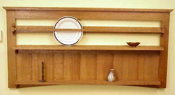 Mission style plate rack with a shelf