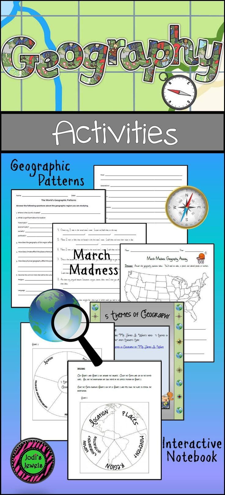 Visit Jodi's Jewels for geography activities that include maps, worksheets, geographic patterns, and interactive notebook activities. Created with middle school in mind.