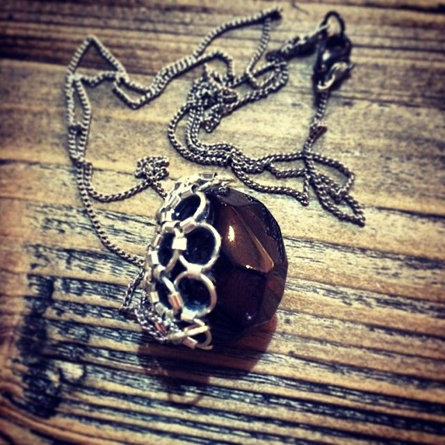 """@Somsri's photo: """"Chain mail wrapped garnet. 'And all I loved, I loved alone.'"""" #jewellery #handmade #jewelry #necklace #crystals #somsri #gemstone #garnet #chainmail"""