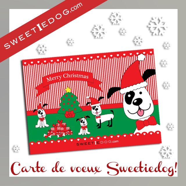 Carte de vœux chien - Joyeux Noël - Sweetie Dog - Free - Goodies - Illustration - télécharger gratuit - www.sweetiedog.com