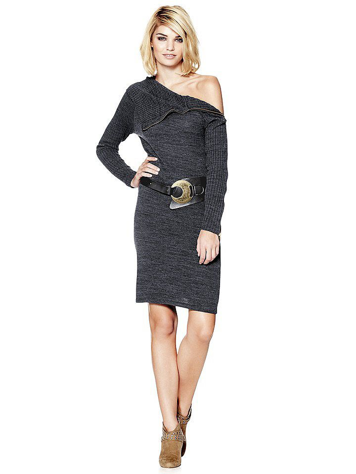 Sexy knitted dress with adjustable collar