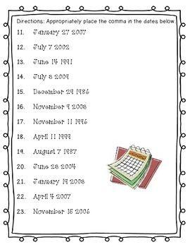In Sentences Punctuation Date