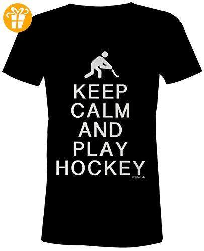 KEEP CALM and play Hockey ★ Rundhals-T-Shirt Frauen-Damen ★ hochwertig bedruckt mit lustigem Spruch ★ Die perfekte Geschenk-Idee (*Partner-Link)