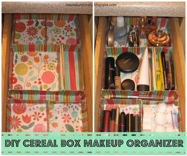 Diy cereal box makeup organizer love this customizable for Cereal box organizer