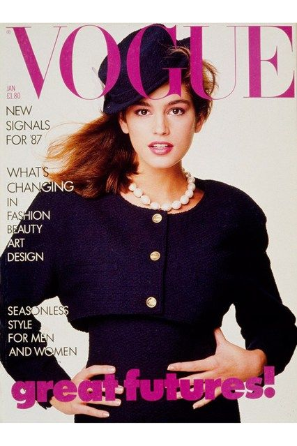 January 1987 Cindy made her first appearance on the cover of British Vogue in January 1987, two years after she dropped out of her chemical engineering degree at Northwestern University (she was there on a scholarship). Wearing Chanel and channelling Audrey Hepburn in Funny Face, her trademark mole was famously deleted.