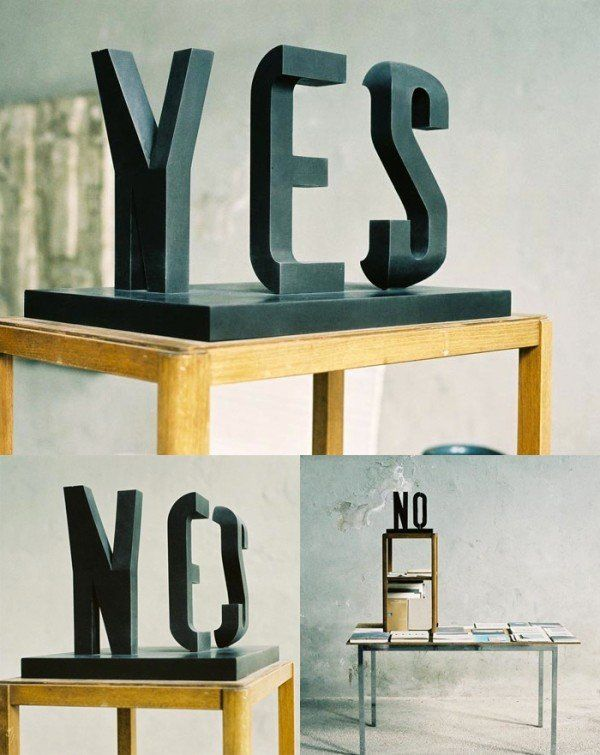 Yes and No!: Sculpture, Inspiration, Yesno, Art, Typography, Design, Optical Illusion