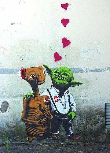 Street Art. ET and Yoda. visit dopewriter.com to buy personal graffiti via paypal