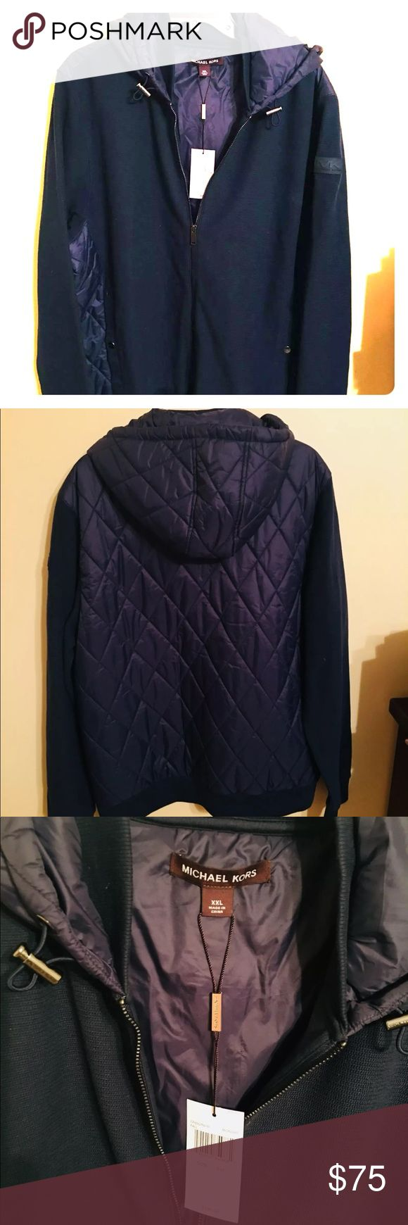 Michale Kors mens jacket NWT never worn Mens zip up jacket Navy blue Hood and quilted back MK branded logo on left sleeve Retails $195 Michael Kors Jackets & Coats