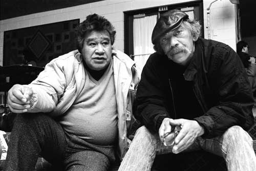 Fellow artists Hone Tuwhare and Ralph Hotere at a Maori writers and artists conference at Waahi marae, Huntly, in 1987. The two were close friends, and Hotere's illustrations enhanced the words in several of Tuwhare's published collections.